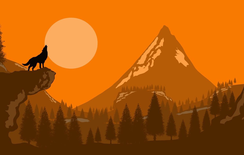 Фото обои moon, forest, trees, art, mountain, rocks, Wolf, digital art, artwork, silhouette, howling