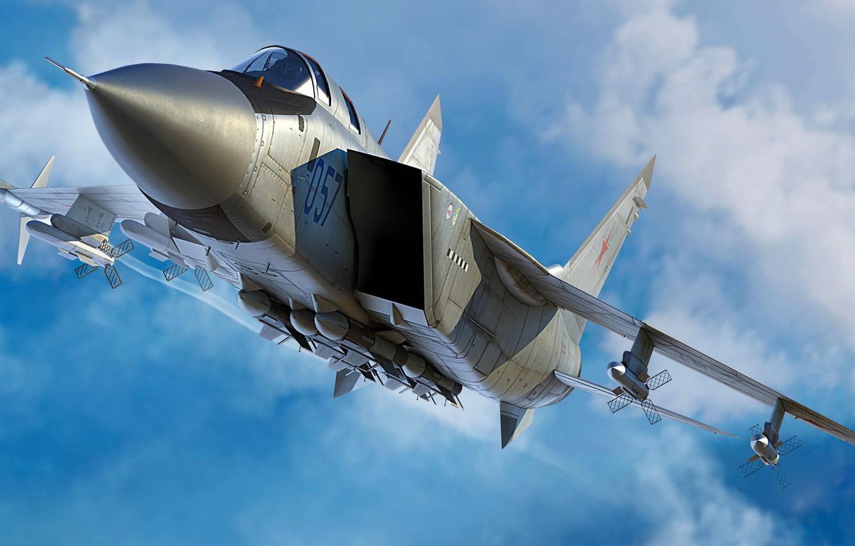 Обои ввс, миг-31, перехватчик, россии, истребитель, Самолёт. Авиация foto 14