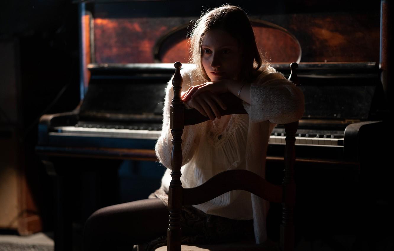 Фото обои девушка, настроение, пианино