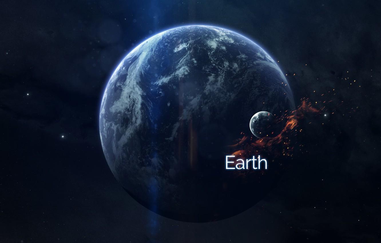 Фото обои Звезды, Планета, Космос, Земля, Планеты, Искры, Planets, Арт, Stars, Space, Art, Earth, Спутник, Planet, Фантастика, ...