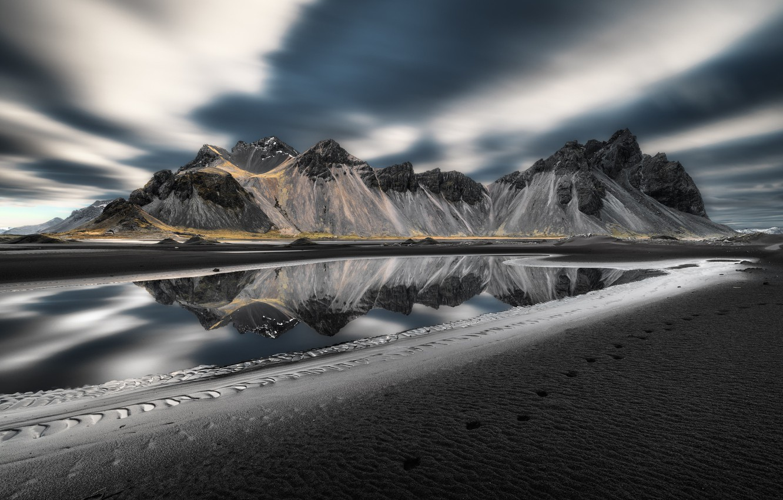 Обои берег, море, Vestrahorn Islande. Природа foto 8