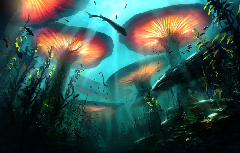 Фото обои рыбы, растения, глубина, фэнтези, арт, подводный мир