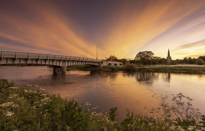 Фото обои закат, мост, река