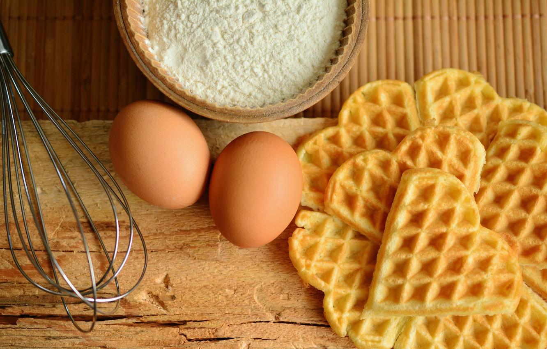 Фото обои яйца, вафли, выпечка, мука