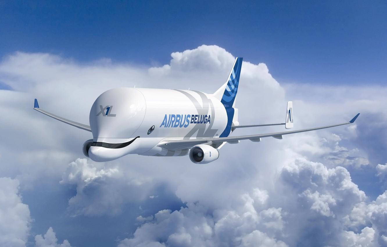 Фото обои самолет, Облака, самолёт, Грузовой, Airbus, Beluga, A300, Airbus Beluga, Super Transporter, Beluga XL, грузовой самолёт ...