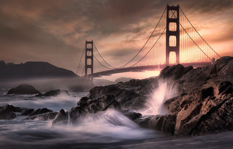 Фото обои ночь, мост, волна