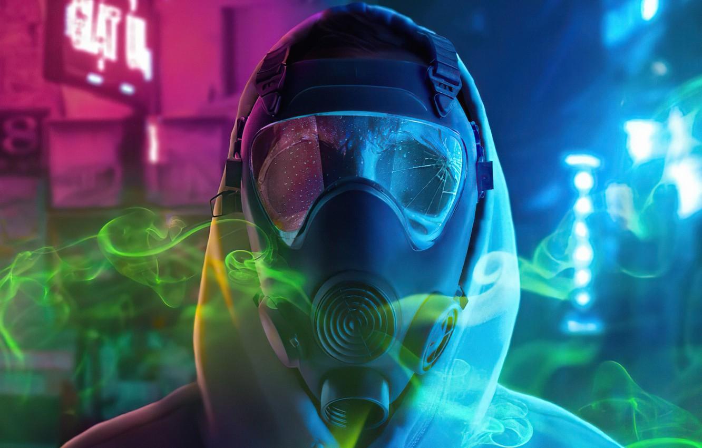 Фото обои ночь, city, город, человек, защита, противогаз, night, man, protection, gas mask, ядовитые испарения, неоновые вывески, …