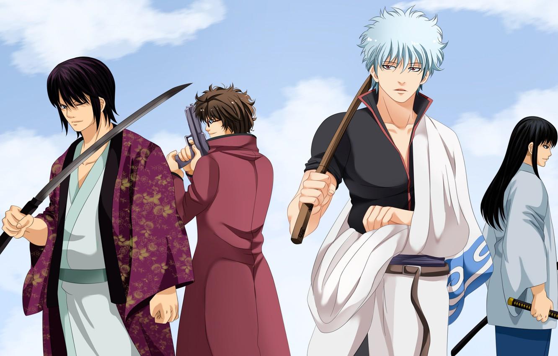 Фото обои парни, самураи, Gintama, Гинтама