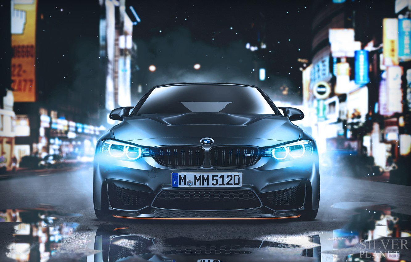 Фото обои Авто, Ночь, BMW, Машина, Фары, Car, Автомобиль, Art, Передок, BMW M4, Vehicles, Transport, Transport & ...