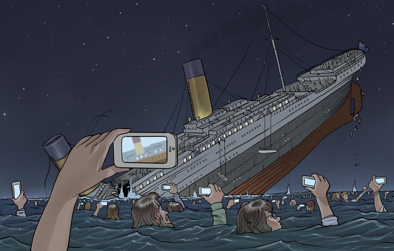 Фото обои Океан, Рисунок, Съемка, Крушение, Люди, Титаник, Судно, Titanic, RMS Titanic, Круизный лайнер, White Star Line, ...