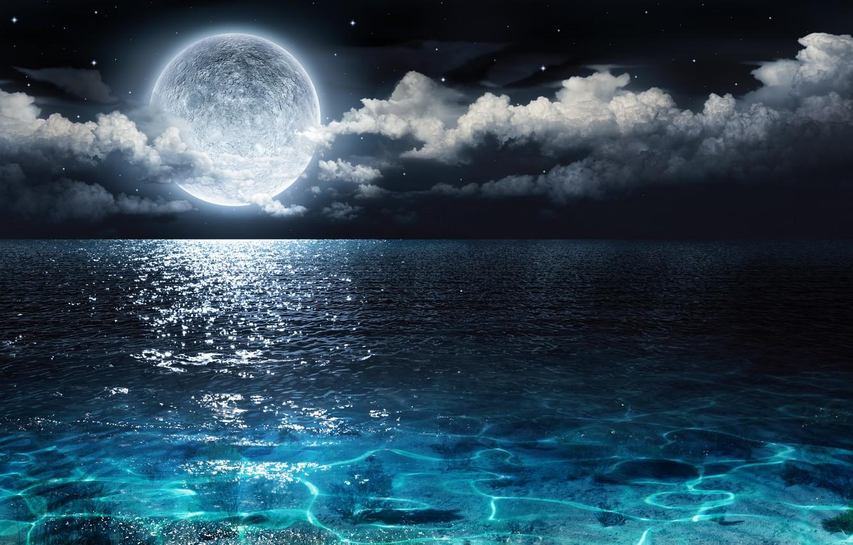 Фото обои звезды, облака, океан, луна