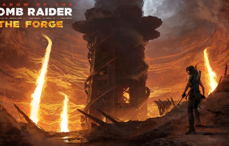 Фото обои волосы, лава, Tomb Raider, Лара Крофт, ловушки, DLC, Shadow of the Tomb Raider, The Forge