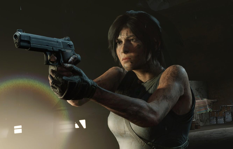 Фото обои волосы, Пистолет, Tomb Raider, Лара Крофт, Shadow of the Tomb Raider