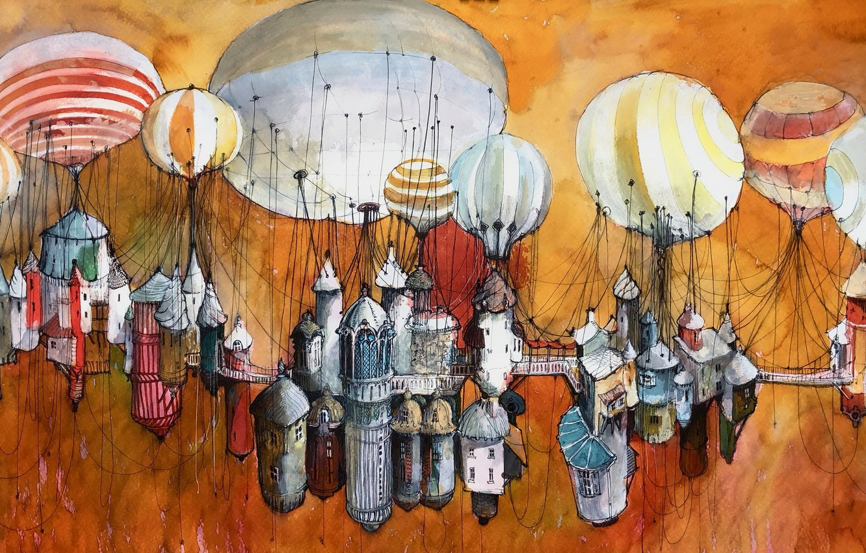 Фото обои шары, рисунок, дома