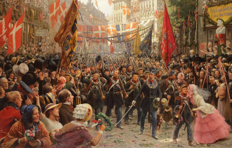Фото обои датский живописец, 1894, Danish painter, oil on canvas, Otto Bache, Отто Бахе, Soldaternes hjemkomst til …