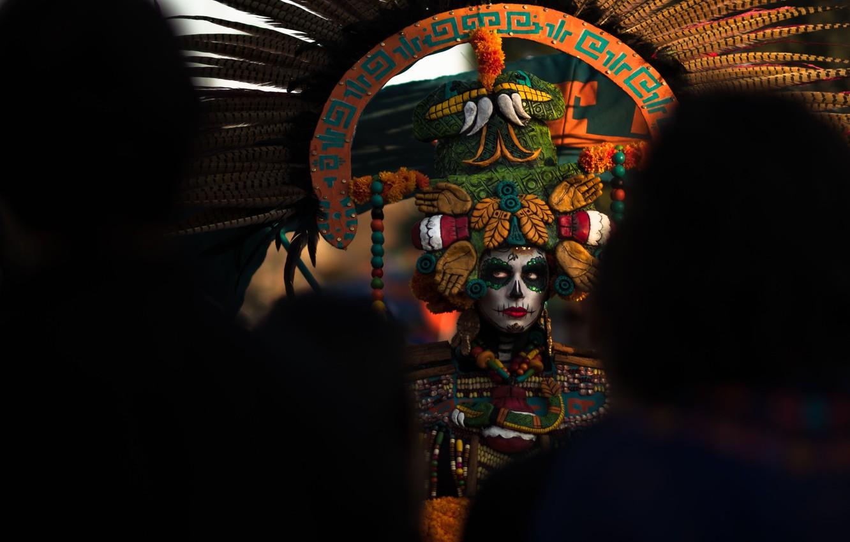 Фото обои девушка, карнавал, тёмный фон, день мёртвых, Dia de los Muertos