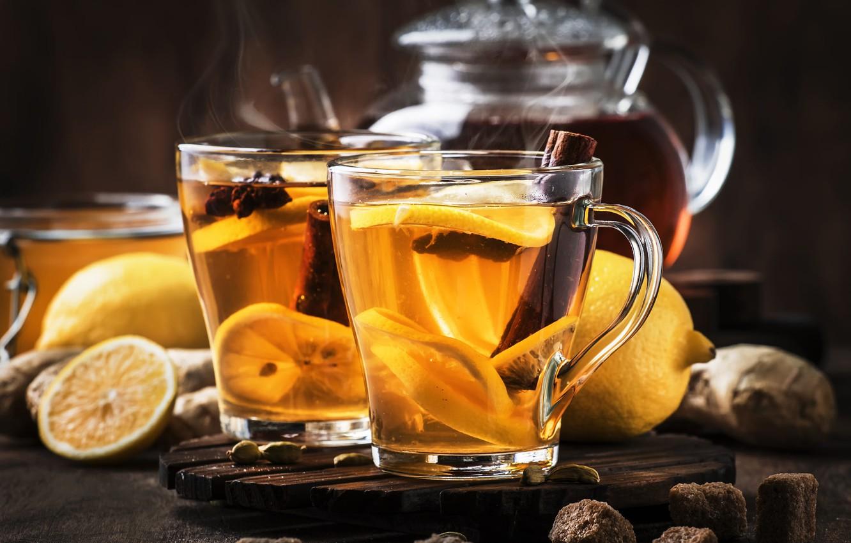 Обои мята, чай, чайник, доски. Еда foto 17