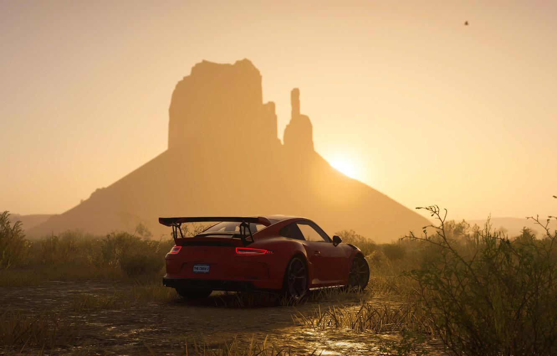 Фото обои закат, 911, Porsche, game, Ubisoft, GT3 RS, The Crew 2