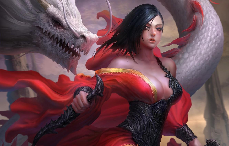 Фото обои girl, fantasy, cleavage, armor, weapon, breast, Warrior, red eyes, dragon, artwork, fantasy art, daggers, chest, …