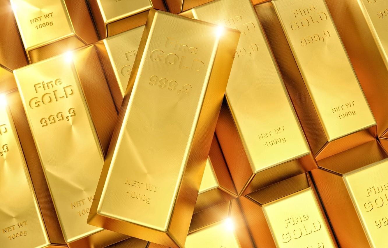 Фото обои золото, слитки, финансы