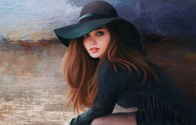 Фото обои Девушка, Рисунок, Взгляд, Girl, Глаза, Шляпа, Шатенка, Арт, Art, Beauty, Eyes, Красивая, Hat, Look, Artist, …