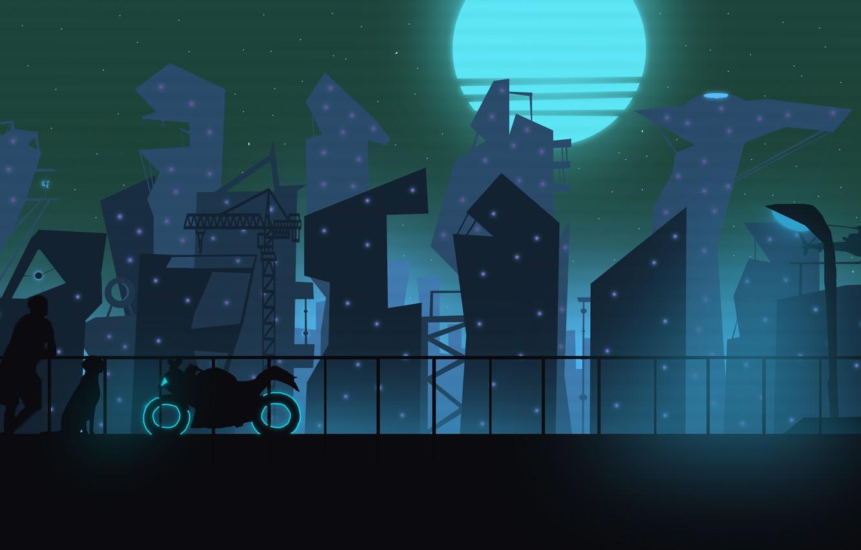Фото обои город, будущее, человек, неон, мотоцикл, фонарь, город будущего, пёс, красивый вид, неоновый город