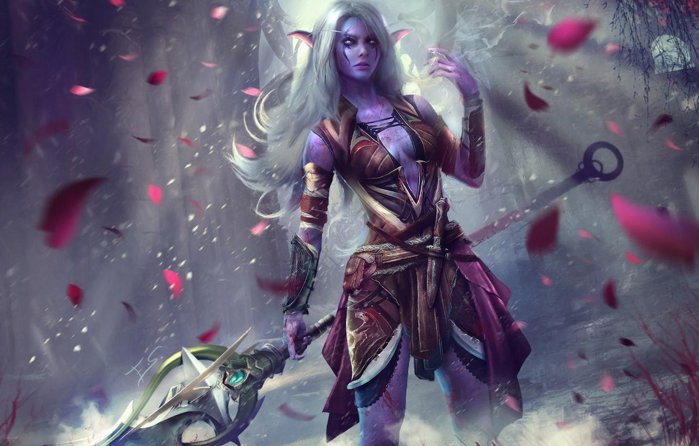 Фото обои девушка, копье, warcraft, охотник, wow, art, world of warcraft, night elf, Lexith