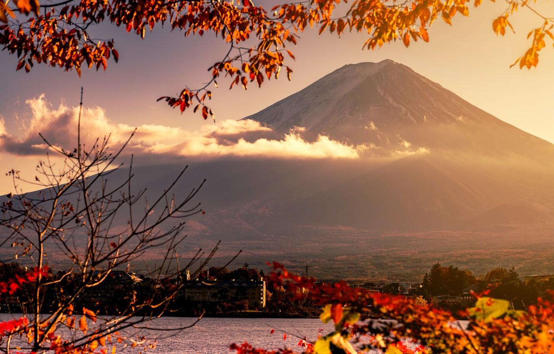 Фото обои осень, небо, листья, colorful, Япония, Japan, red, клен, гора Фуджи, landscape, autumn, leaves, осенние, maple, …
