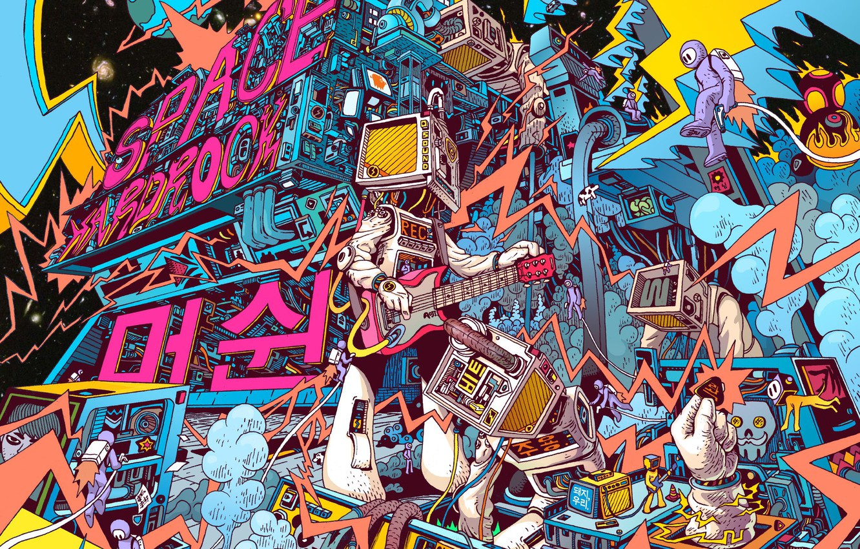 Фото обои Цвет, Рисунок, Музыка, Гитара, Космос, Арт, Space, Music, Robot, Guitar, Machine, Colors, Illustration, Space Hardrock …