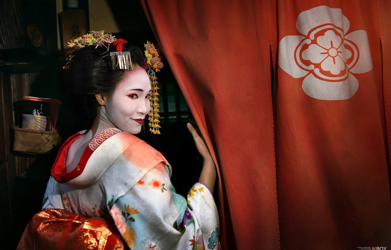 Фото обои девушка, Япония, гейша, азиатка