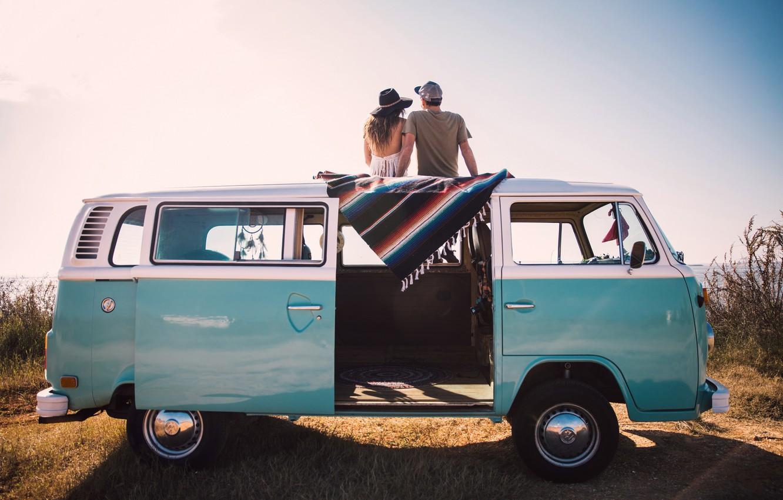 Фото обои Love, Moon, Car, Woman, Man