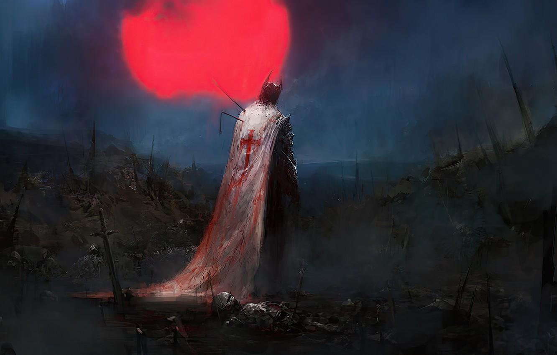 Фото обои dark, battlefield, moon, fantasy, armor, night, artist, weapons, Chris Cold, digital art, artwork, warrior, swords, …
