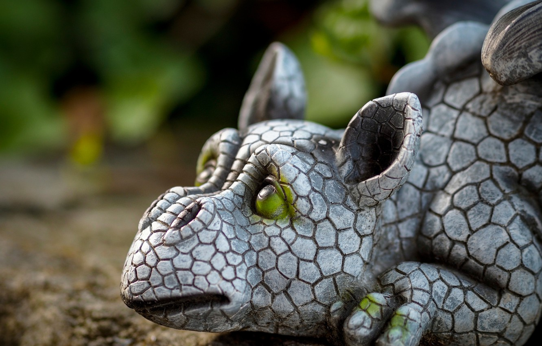 Фото обои дракон, скульптура, дракончик