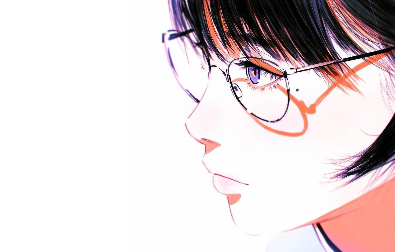 Фото обои лицо, тень, очки, белый фон, профиль, родинка, челка, портрет девушки, Илья Кувшинов