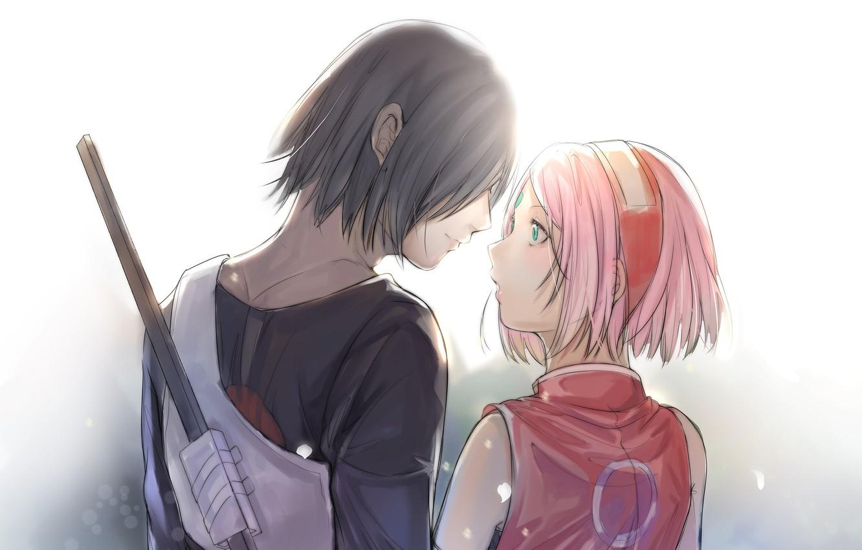 Фото обои романтика, пара, Наруто, Naruto, Sasuke Uchiha, Sakura Haruno, Саске Учиха, Сакура Харуно