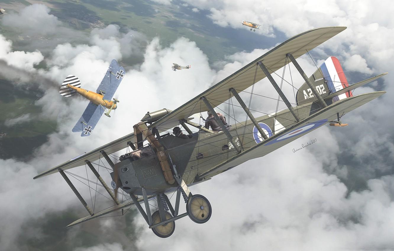 Фото обои Бомбардировщик, военный самолёт, Armstrong Whitworth F.K.8, британский двухместный универсальный биплан