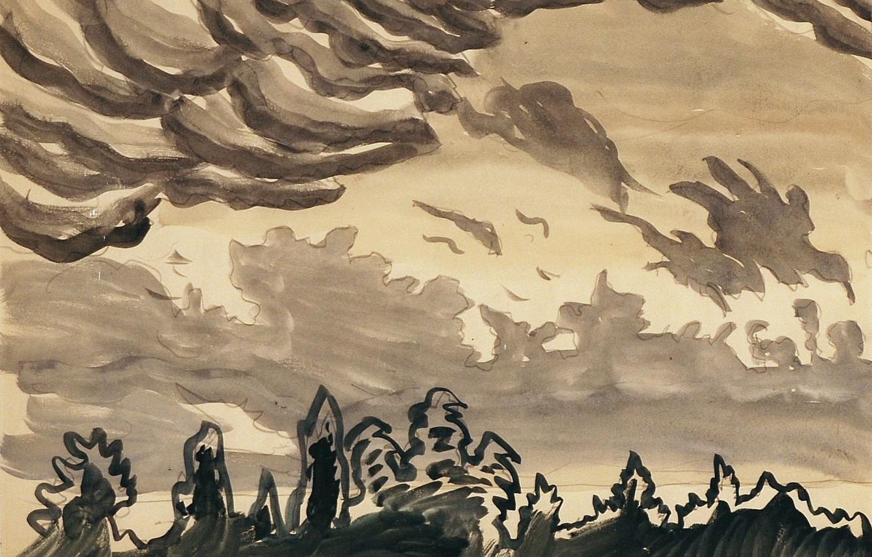 Фото обои Untitled, Charles Ephraim Burchfield, 916, Black and White Cloud - Cloud Study