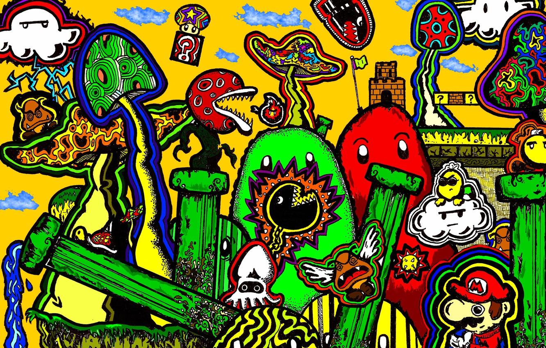 Фото обои фантазия, грибы, марио, фигуры, mario, abstraction, психоделика, psychedelic, psy artwork