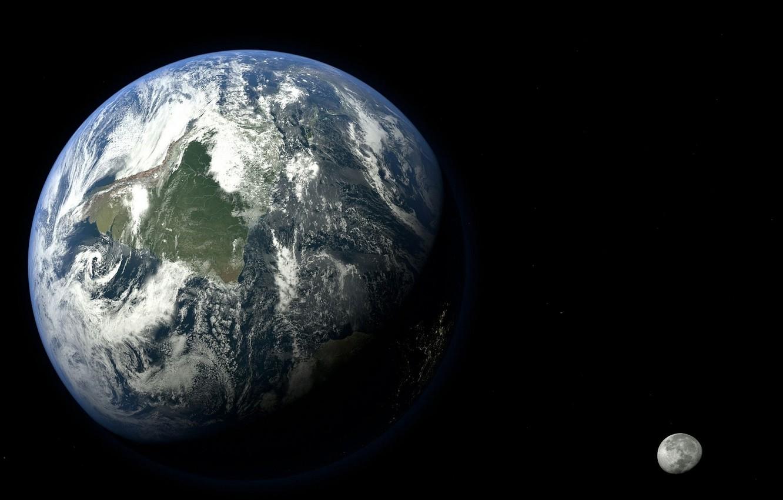 Фото обои пространство, земля, луна, мир, планета