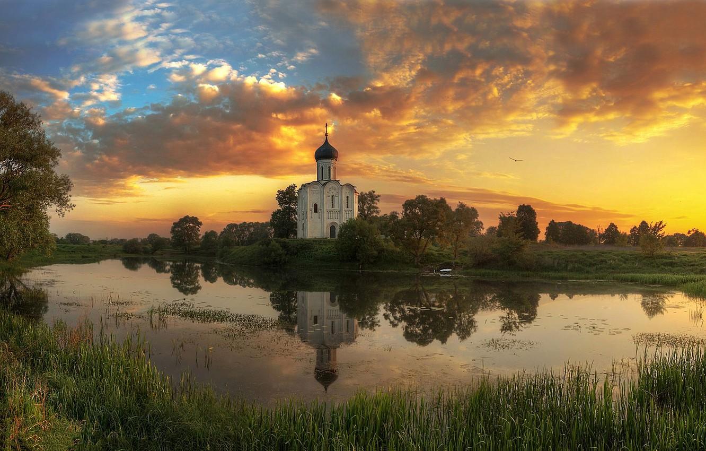 Фото обои лето, закат, река, Владимирская область, Ed Gordeev, Гордеев Эдуард, Церковь Покрова