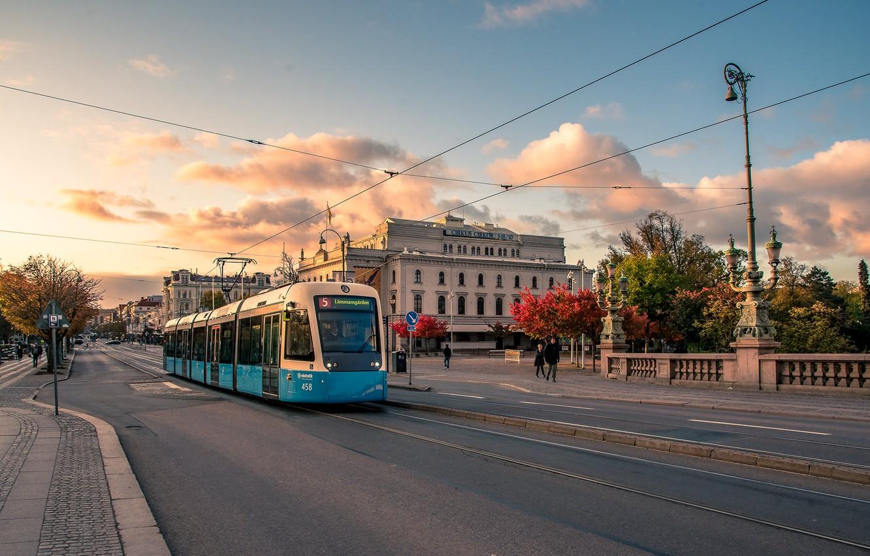 Фото обои осень, улица, октябрь, трамвай, Швеция, Гётеборг