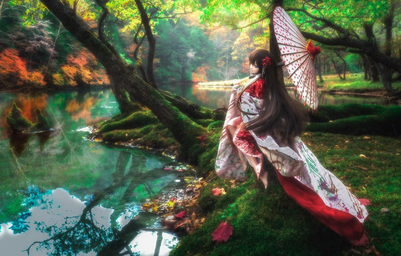Обои японка, зонтик, Кукла. Разное foto 14