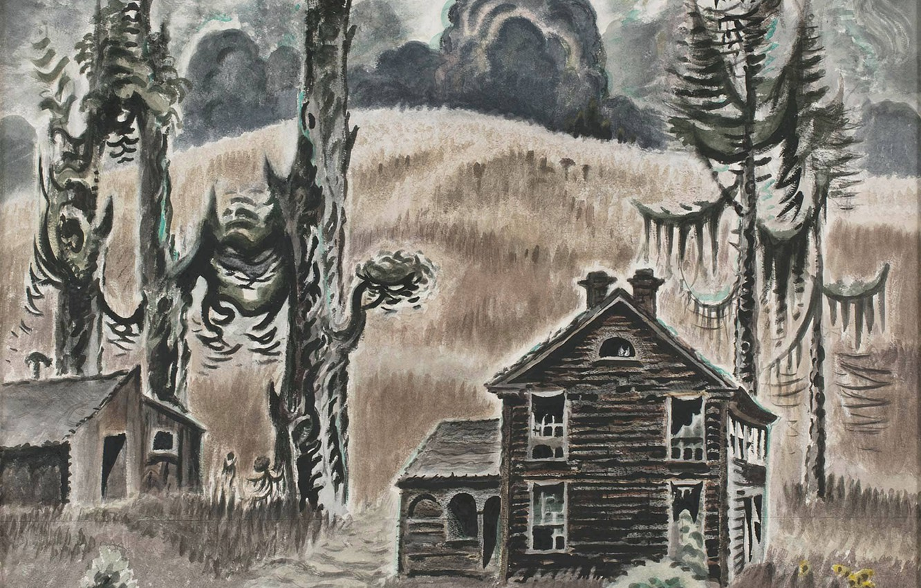 Фото обои Charles Ephraim Burchfield, 1954-62, Haunted Twilight
