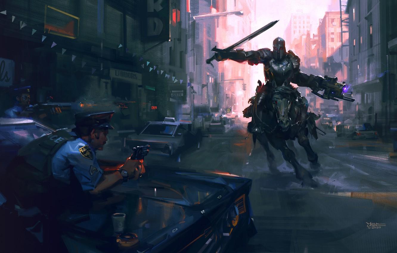Фото обои оружие, лошадь, полиция, меч, доспехи, арт, всадник, sci-fi, копы