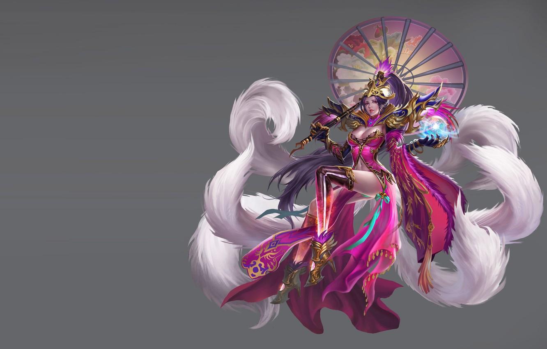 Фото обои игра, фэнтези, арт, костюм, кицунэ, дизайн костюма, LIU Mingxing