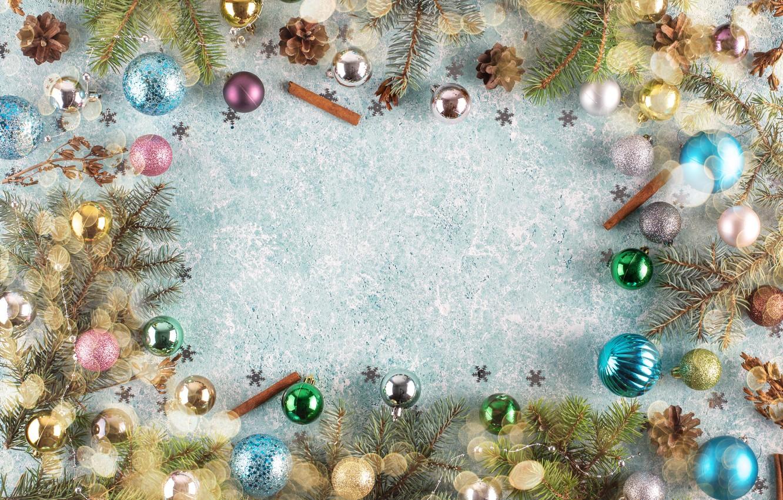 Фото обои украшения, шары, Рождество, Новый год, new year, Christmas, balls, wood, decoration, frame, fir tree, ветки …