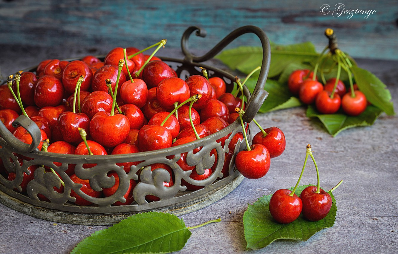 Фото обои ягоды, стол, черешня
