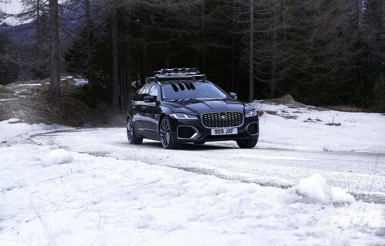 Фото обои дорога, лес, снег, деревья, Jaguar, универсал, Jaguar XF, 2020, XF, XF Sportbrake