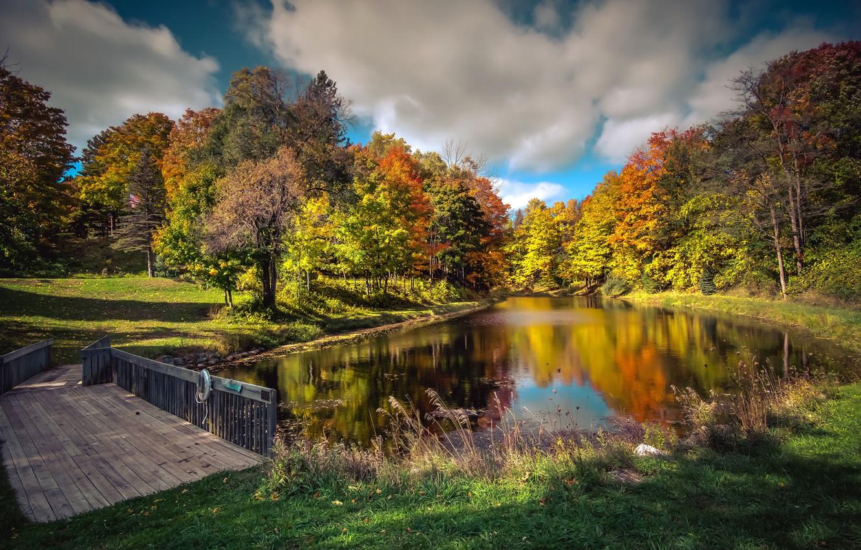 Фото обои осень, небо, трава, солнце, облака, деревья, мост, парк, США, речка, Michigan, Northport