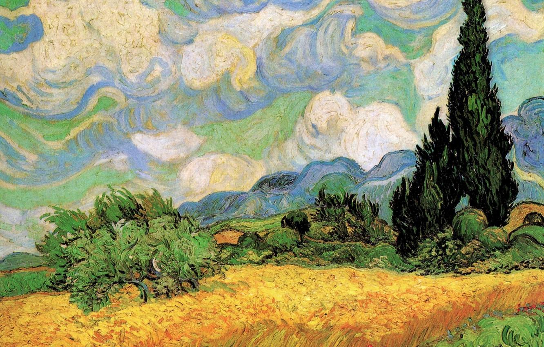 Обои масло, картина, Винсент ван Гог, Деревня Вечером. Разное foto 12